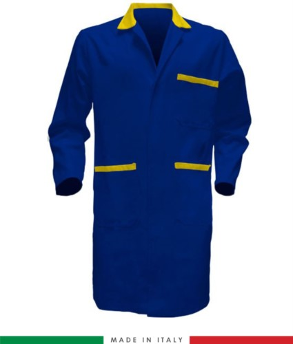 men work gown  Royal Blue / Yellow 100% cotton