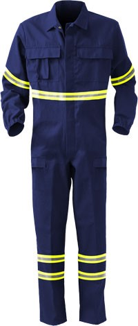 Nomex coverall, elasticated cuffs, elasticated waist, two back pockets, one back pocket, navy blue colour. Certified EN 11611, EN 1149-5, EN 11612:2009, UNI EN ISO 340:2004, EN 15614