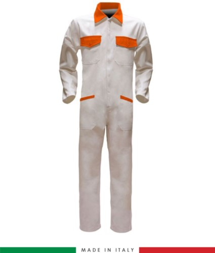 Two-tone ful jumpsuit , shirt collar, central covered zip, elasticated wais. Possibility of personalized production. Made in Italy. Color white/orange