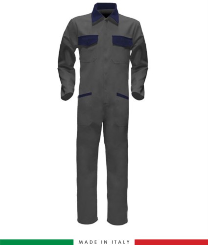 Two-tone ful jumpsuit , shirt collar, central covered zip, elasticated wais. Possibility of personalized production. Made in Italy. Color grey/navy blue