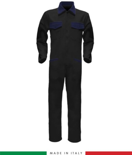 Two-tone ful jumpsuit , shirt collar, central covered zip, elasticated wais. Possibility of personalized production. Made in Italy. Color black/navy blue