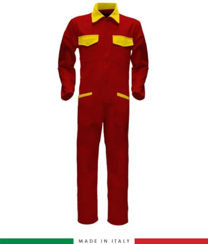 Two-tone ful jumpsuit , shirt collar, central covered zip, elasticated wais. Possibility of personalized production. Made in Italy. Color red/yellow