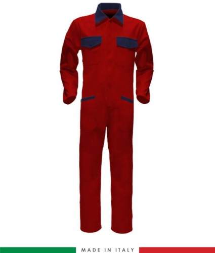 Two-tone ful jumpsuit , shirt collar, central covered zip, elasticated wais. Possibility of personalized production. Made in Italy. Color red/navy blue