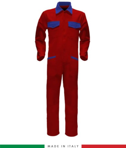 Two-tone ful jumpsuit , shirt collar, central covered zip, elasticated wais. Possibility of personalized production. Made in Italy. Color red/royal blue