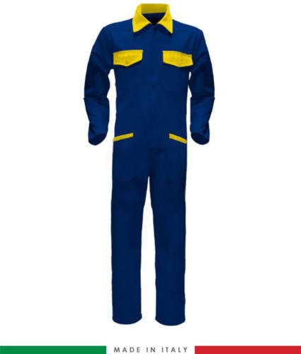 Two-tone ful jumpsuit , shirt collar, central covered zip, elasticated wais. Possibility of personalized production. Made in Italy. Color royal blue/ yellow