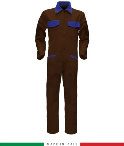 Two-tone ful jumpsuit , shirt collar, central covered zip, elasticated wais. Possibility of personalized production. Made in Italy. Color brown/royal blue