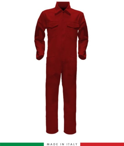 Two-tone ful jumpsuit , shirt collar, central covered zip, elasticated wais. Possibility of personalized production. Made in Italy. Color red