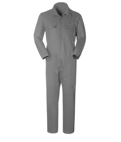 Overalls with shirt collar, multi pocket, cotton, elatsic at the wrists Colour: Grey
