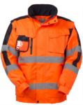 High visibility Pilot jacket with detachable sleeves, badge holder, concealed hood, double band on sleeves and waist, certified EN 343, EN 20471. Colour yellow Rif. ARHH226.AR
