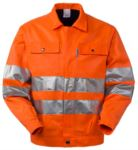 High visibility jacket with shirt collar, chest pockets, double band at the waist and sleeves, certified EN 20471, color orange 