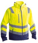 High visibility jacket with shirt collar, chest pockets, double band at the waist and sleeves, certified EN 20471, color orange ZXGGXA7414.GI