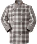 Chef jacket, double-breasted front button closure, left side pocket, three-quarter length sleeve, colour check brown ARMG1201.CM